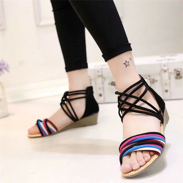 39cd89ac4 Fashion Style Women Summer Bohemia Slippers Flip Flops Wedges Flat Sandals  Ladies Casual Beach Thong Shoes for Women Plus Size