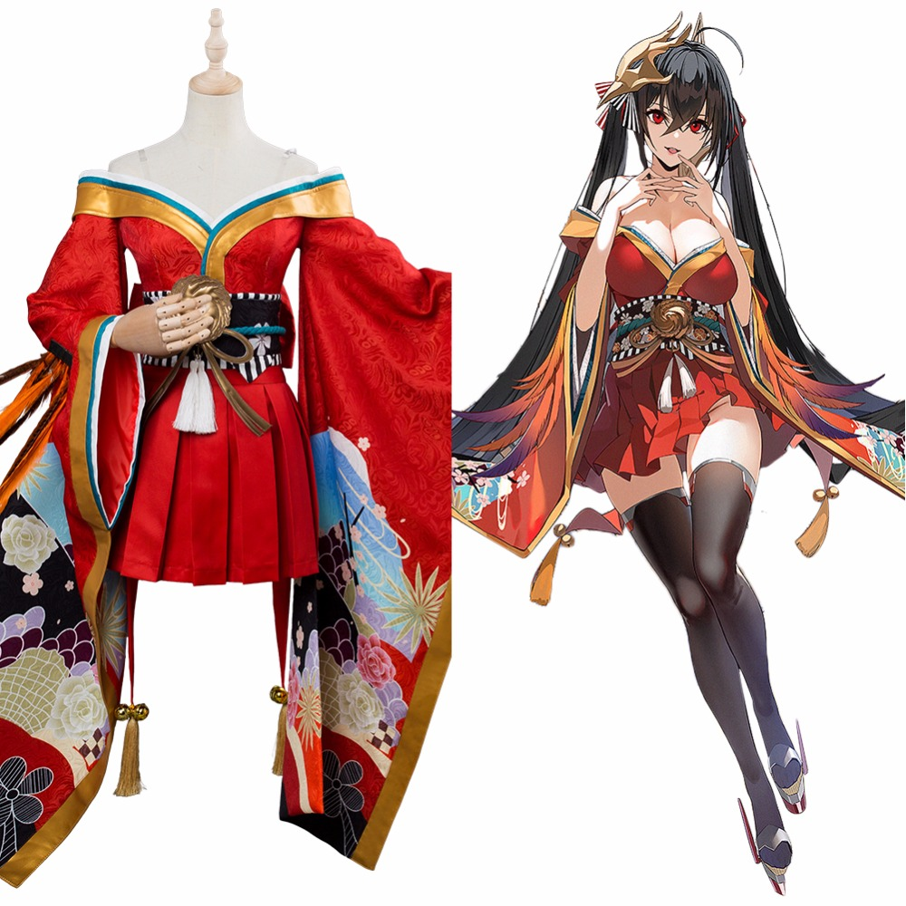 Azur Lane Cosplay IJN TAIHO Sakura Empire Costume Red kimono Dress Adult Girls and Women Halloween Carnival Costume Custom Made