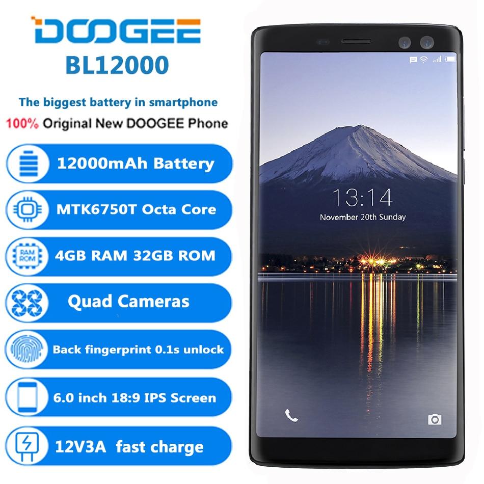 Оригинальный DOOGEE BL12000 4G мобильные телефоны Android 7,0 4 Гб + 32 ГБ смартфон на базе восьмиядерного процессора 12000 мА/ч, 4 камеры 6,0 дюймов FHD + безрамо...
