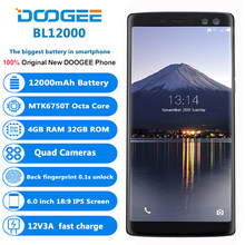 Original DOOGEE BL12000 4G Mobile Phones Android 7.0 4GB+32GB Octa Core Smartphone 12000mAh 4 Cameras 6.0 inch FHD+ Cell Phone