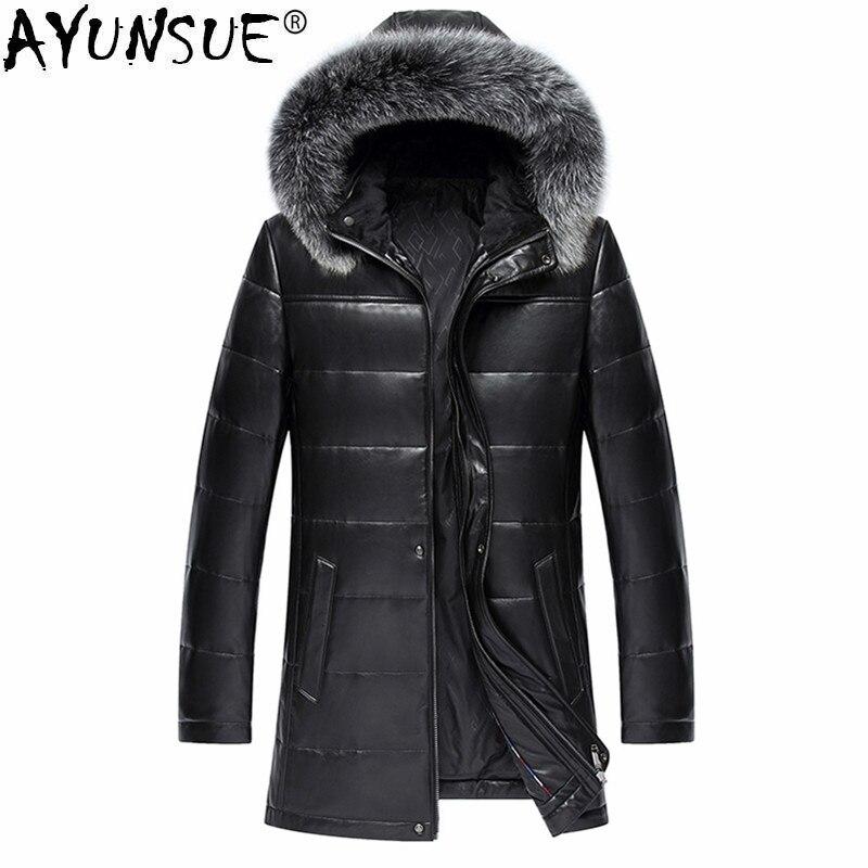 Ayunsue натуральная кожа куртка Для мужчин дубленка натуральная кожаные пальто мужские зимние Теплый пуховик куртки мужской мех лисы верхняя ...