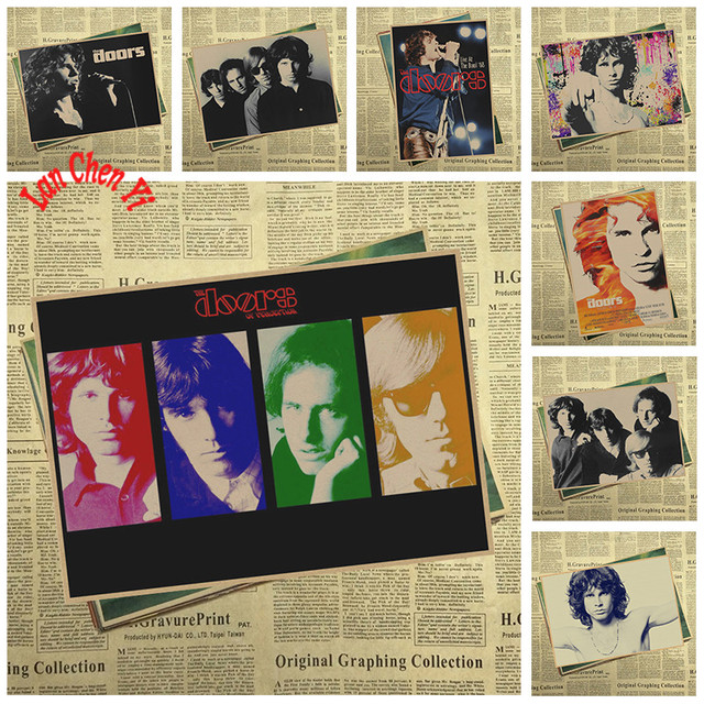 Nostalgic Rock Band Music Poster The Doors Cafe Creative Wallpaper