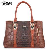 a417e49df309 ZMQN Роскошные для женщин сумки 2019 кожаная сумка для женская дизайнерская  сумочка известный бренд Крокодил дамы
