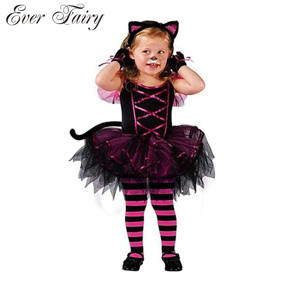 2016 Hot Halloween Costumes for baby girl tutu dress + Headdress Cheshire Cat girl Prom Animal Cosplay Apparel kids girl clothes