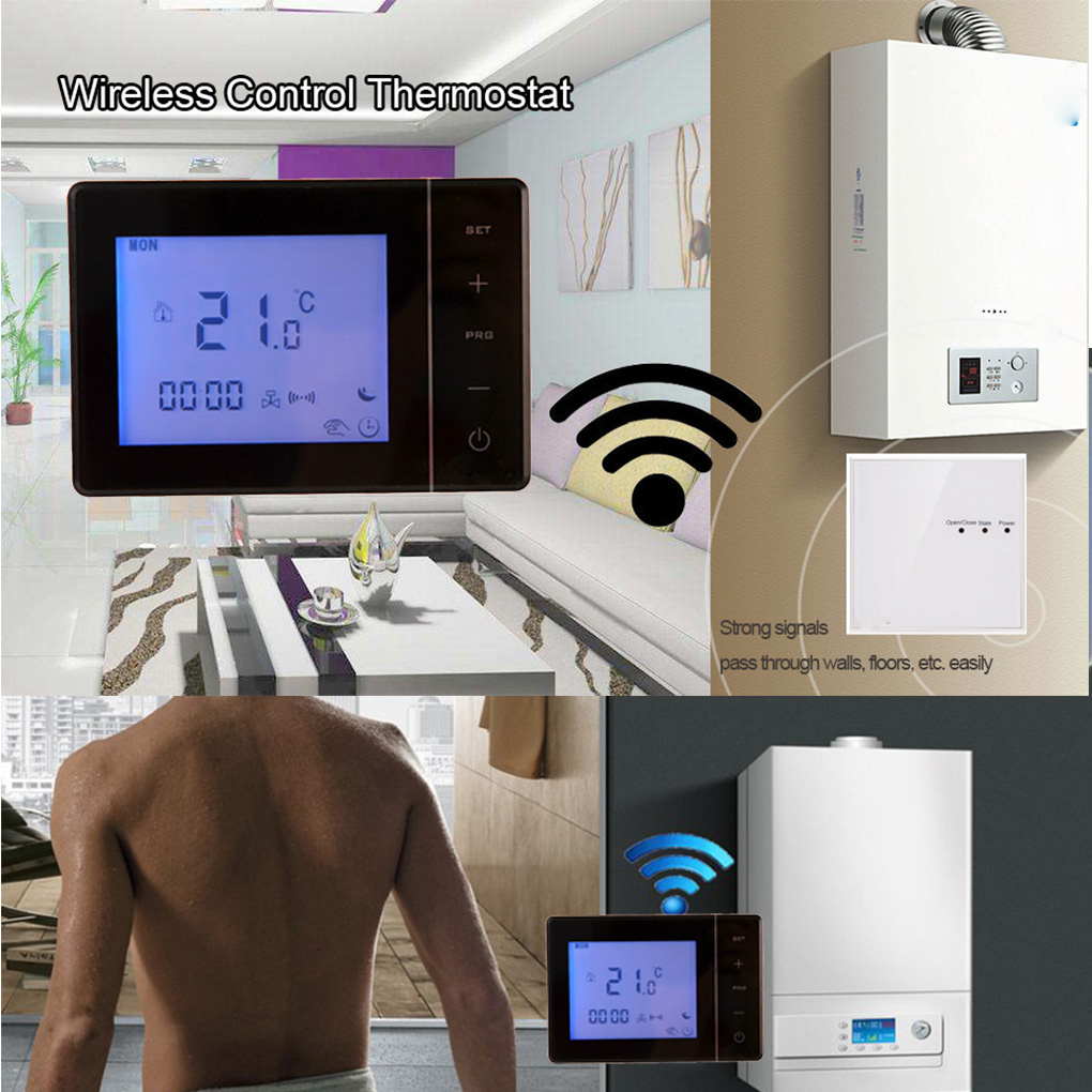 433MHZ Wireless Gas Boiler Thermostat RF Control 5A Wall-hung Boiler Heating Thermostat Digital LCD Temperature Controller valve radiator linkage controller weekly programmable room thermostat wifi app for gas boiler underfloor heating