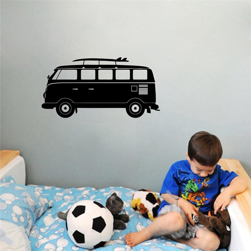 Cartoon VOLKSWAGEN Camper Van Wall Art Vinyl Decal Sticker Kids Room Retro Wall Decor
