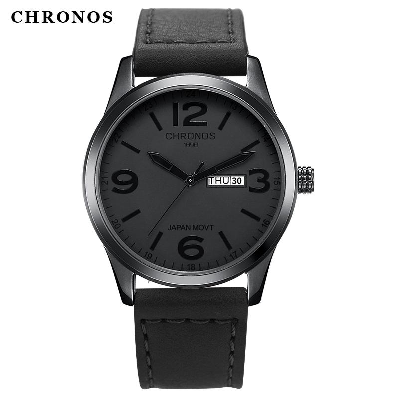 Prix pour Casual quartz montre homme top marque de luxe chronos 1898 véritable cuir imperméable montres masculino date horloge orologio uomo