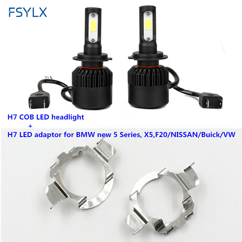 FSYLX H7 COB LED Headlight with adapter for NISSAN QASHQAI Jetta Magotan Bora polo 6rBMW X5 F20 Car H7 LED Headlamp Headlight fsylx led h7 bulb holder adapter for hyundai veloster i30 h7 led headlight headlamp h7 base adapter for kia k4 k5 sorento ceed