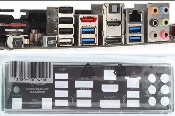 Original IO I//O Shield Back Plate BackPlate for ASUS MAXIMUS VIII GENE