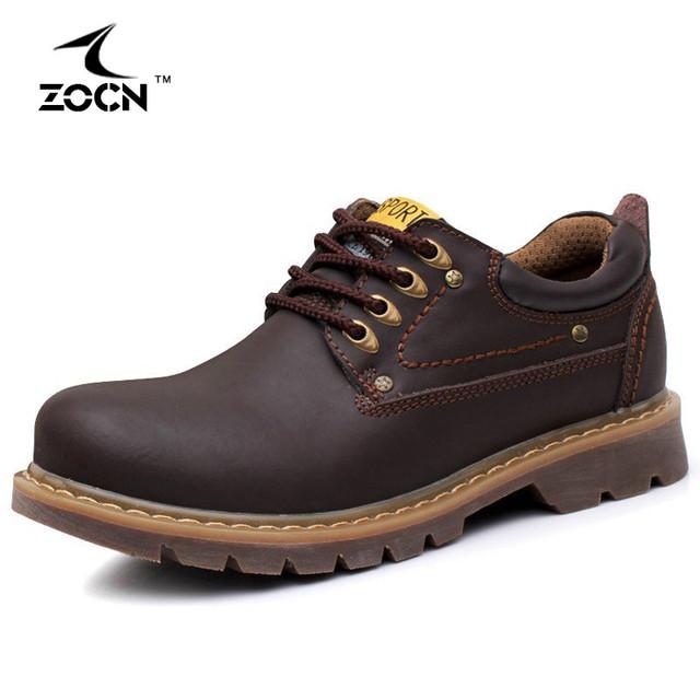 ZOCN Genuína Botas De Couro Homens Sapatos Ankle Boots Outono Botas Militares Preto Para Os Homens Apartamentos Botas Hombre 2016