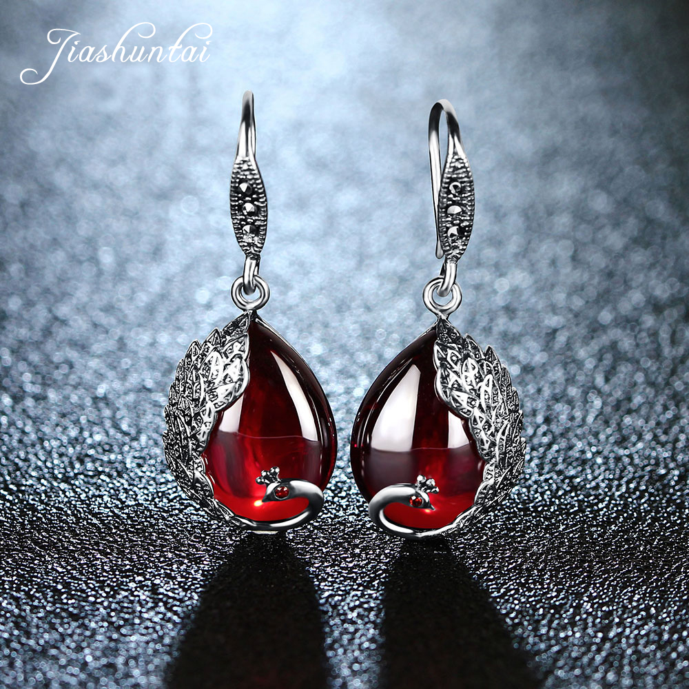 JIASHUNTAI Silver Earrings for Women Peacock Shape Earrings Female Antiallergic 925 Sterling Silver Jewelry Natural Stone боксеры emporio armani боксеры