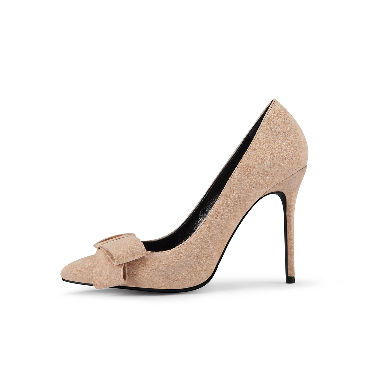 GAOZZE Suede Leather Ladies Lovely Bowknot Pumps High Heel Shoes Pointed Toe Thin High Heel 10cm Nude Color Zapatos De Mujer famiaoo women pumps chaussure femme black gray zapatos mujer tacon high heel 2017 pointed toe thin heel ladies pumps women shoes