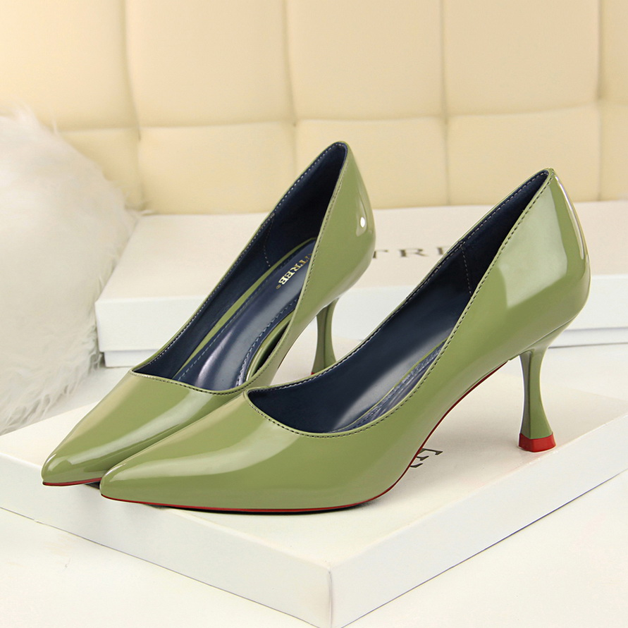 Shoes Woman Patent Leather Slip On Sandals Pointed Toe Pumps High Heels Slides Occupation Shoes Black Red Green Khaki Pink White