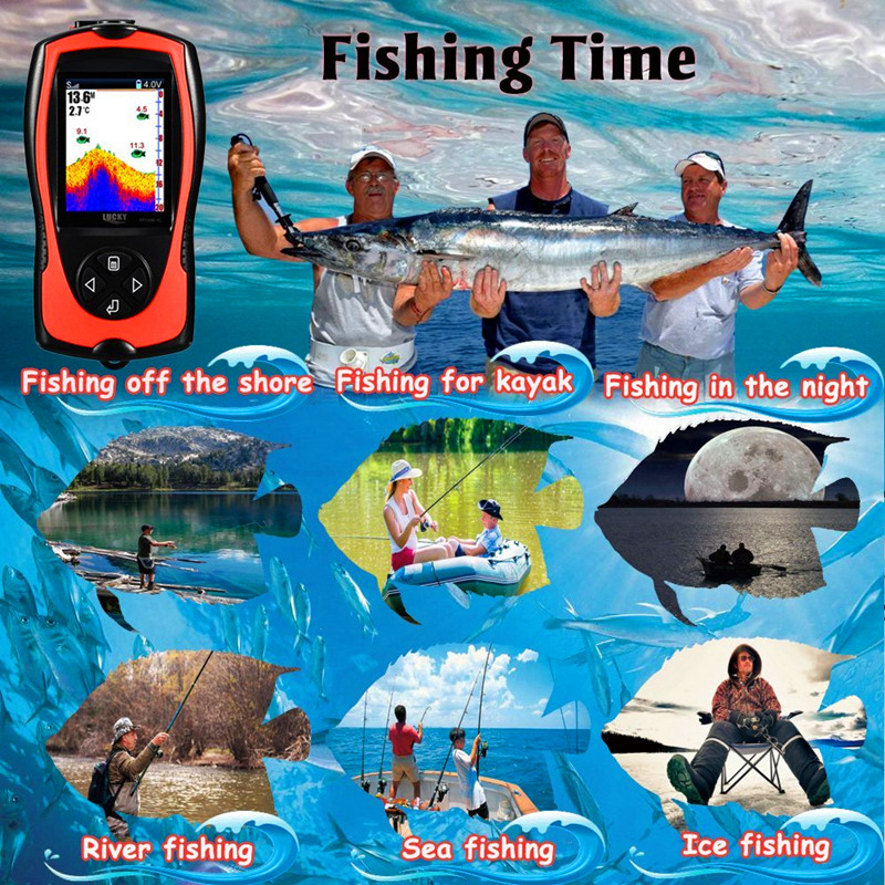 FF1108-1CWLA Rechargeable Findfish Wireless Remote Sonar Sensor 45M Water Depth High Definition LCD FishFinder Fish Finder Pesca (10)