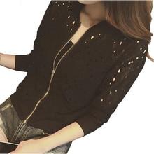 New 2017 Spring Women Basic Jackets Coat Stand Collar Long Sleeve Coat Zipper Lace Cardigan Bomber Jacket Female Outerwear  Se13