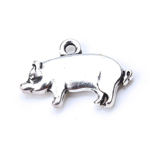 10 pzas/unids/lote dijes de cerdo dije de plata antigua COLLAR COLGANTE DIY encanto joyería accesorios COLLAR COLGANTE accesorios 20mm x 12mm