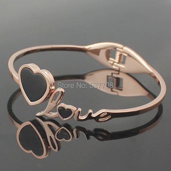 2014 Fashion Womens  Rose Gold Plated Black Heart+Love Bracelet Bangle Men 316L Stainless Steel Bracelets Bangles for Women