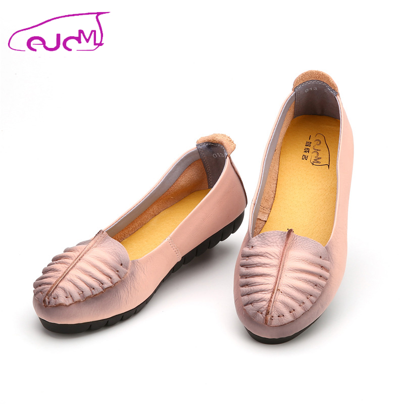 ФОТО 2016 NEW Genuine Leather Women Soft Slips Shoes Fashion Casual Flats Breathable Driving Shoes Black/Pink/Blue 013- Z3