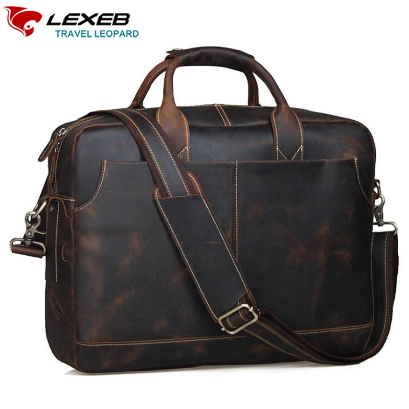 d47a6c0964bd Best buy LEXEB Crazy Horse Vintage European Style Large Capacity 16 inch Laptop  Bag Men s Briefcases Genuine Leather Man Office Bag Brown online cheap