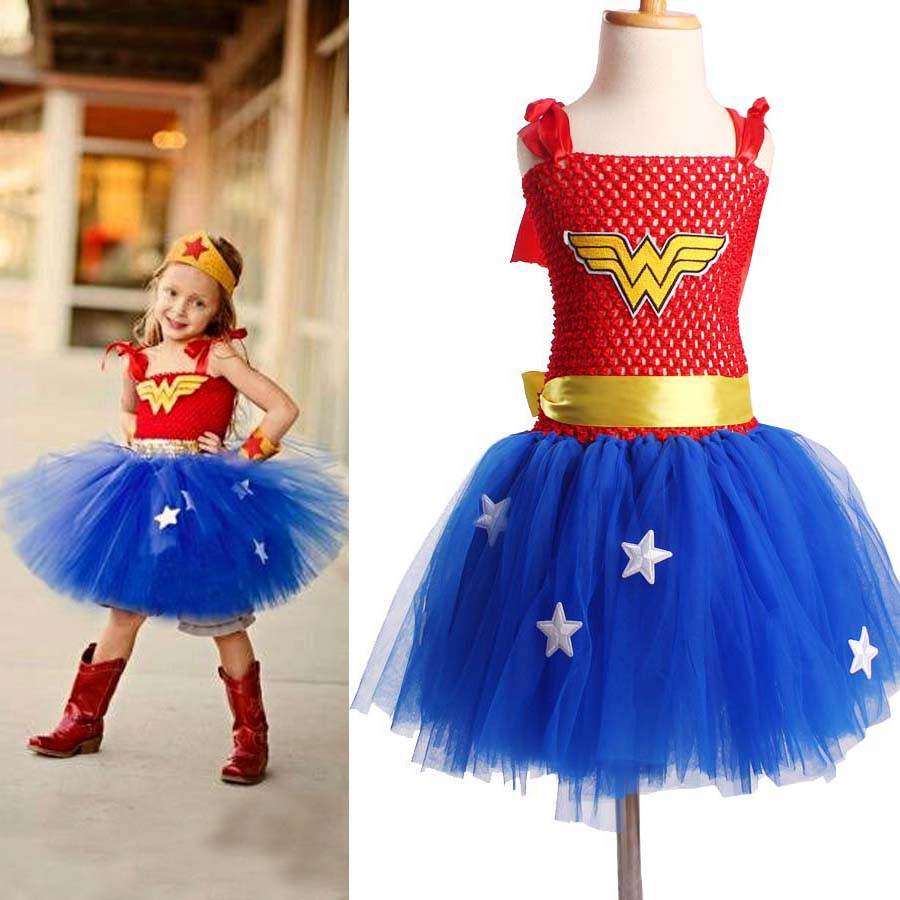 Superhero Inspired Girl Tutu Dress Wonder Woman Batman Superman Cosplay Photo Props Gwisg Rhodd Calan Gaeaf TS089
