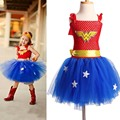 Superhero Inspired Girl Tutu Dress Wonder Woman Batman Superman Cosplay Photo Props Dress Halloween Birthday Gift TS089