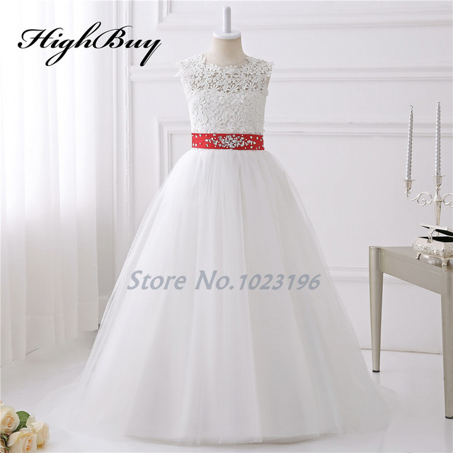 Highbuy 2017 hot pretty ivory white appliques tulle beads red sash highbuy 2017 hot pretty ivory white appliques tulle beads red sash flower girl dresses with train mightylinksfo