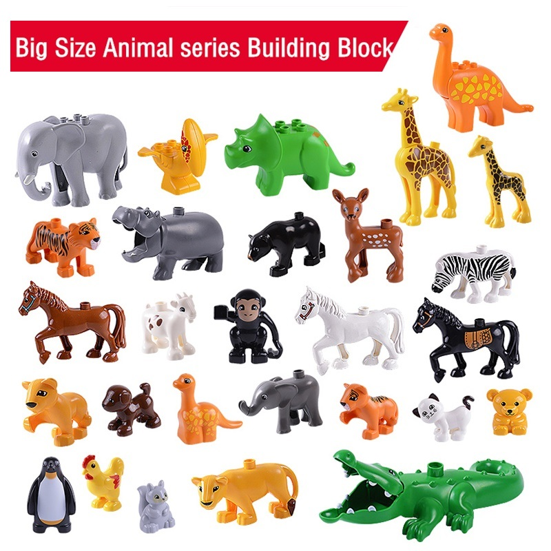 28PCS Set Animal Series Big Building Blocks and 1PCS Base Plate Compatible Duploed Model Figures Toys