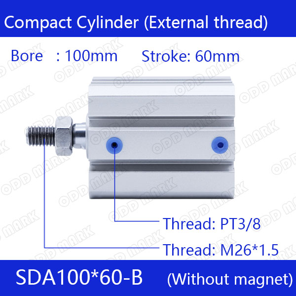 SDA100*60-B Free shipping 100mm Bore 60mm Stroke External thread Compact Air Cylinders Dual Action Air Pneumatic Cylinder sda100 30 free shipping 100mm bore 30mm stroke compact air cylinders sda100x30 dual action air pneumatic cylinder