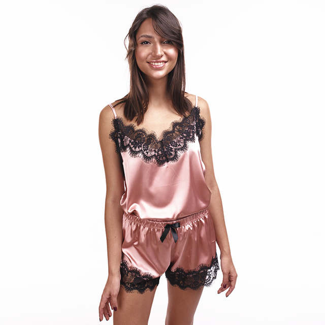 8c7072644d Women s Sleepwear Sexy Satin Pajama Set Black Lace V-Neck Pyjamas  Sleeveless Cute Cami Top