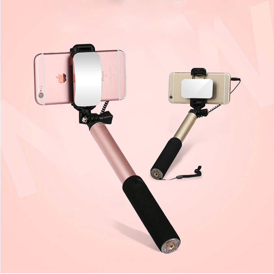 Perche Pal Rod Pau De Self Palo Selfie Stick For Android iPhone Samsung Universal With Mirror Button Mobile Monopod Selfipalka