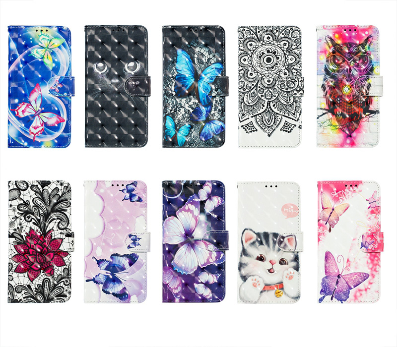 3D Flower Wallet Leather Cases For Huawei P30 Plus Y5 Y6 Y9 2019 P20 Lite Mate