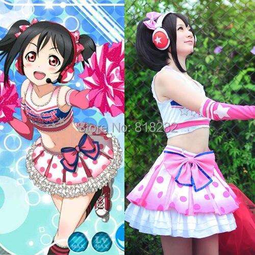 Love Live School Idol Project Yazawa Nico Cheerleader Tee Dress Uniform Outfit Cosplay Costumes refreshing black medium with bunches love live yazawa nico uniform style cosplay wig