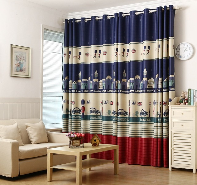 Blue British style children\'s curtains bedroom windows and floor to ...