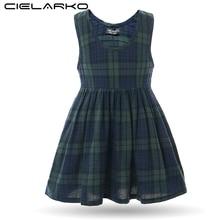 Cielarko Summer Girls Plaid Dress Green Vintage Kids School Dresses Children Basic Cotton Frocks with Pocket for 2-16 Years
