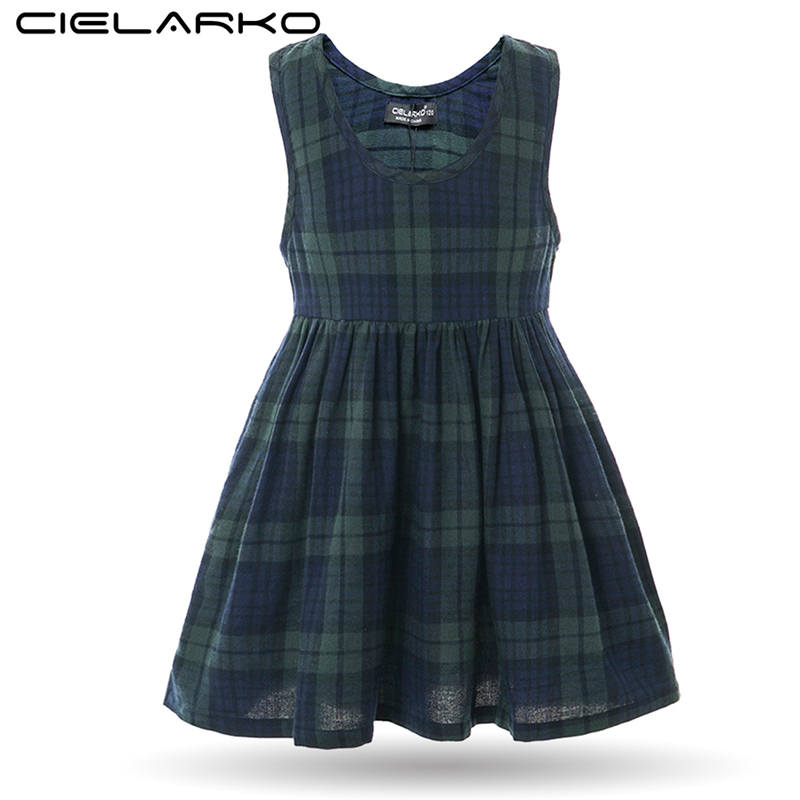 Cielarko Summer Girls Plaid Dress Green Vintage Kids School Dresses Niños Básicos de algodón con bolsillo para 2-16 años