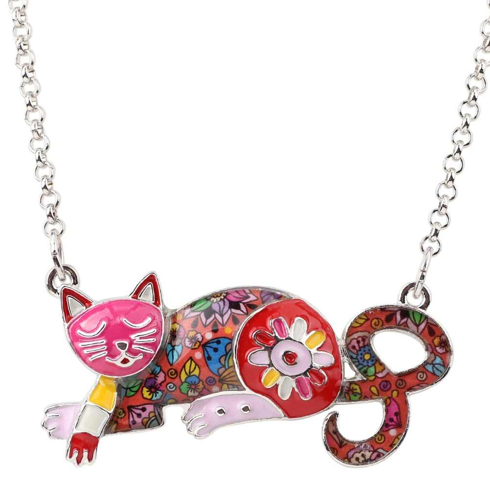 Bonsny, эмаль, Массивная металлическая цепочка, колье, ожерелья с котом, котенок, ювелирное изделие, подвески, воротник, 2017, новинки, мода для женщин, аксессуары