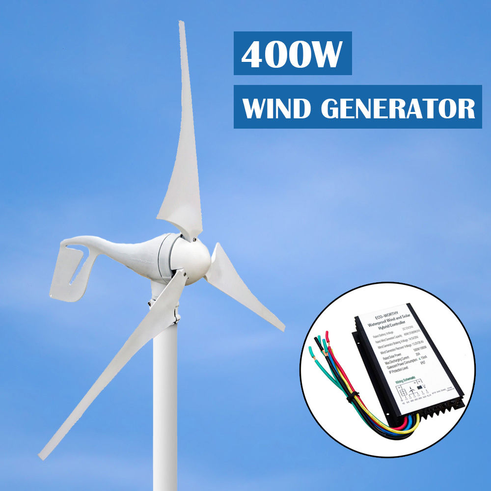 EU AU USA Stock 400 w vent Turbinen générateur petit 3 lame 1kw grille cravate verticale Mini vent solaire hybride contrôleur