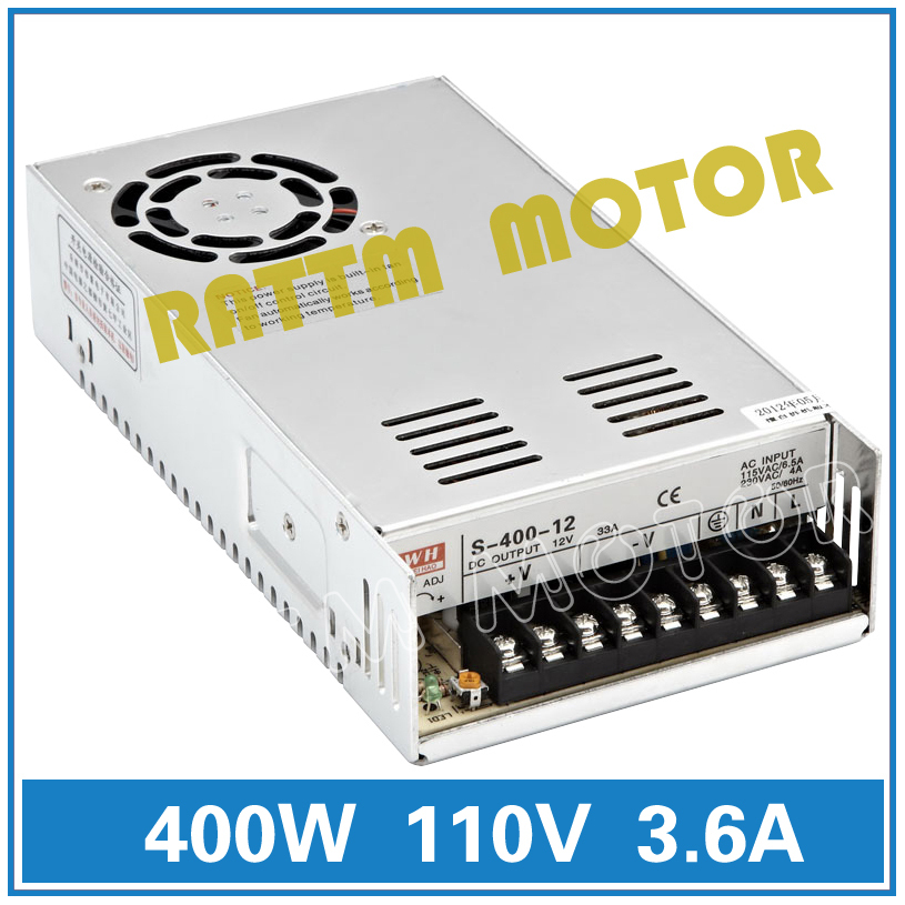 400W 110V Switch Power supply DC power S-400-110 3.6A CNC Router Single Output Foaming Mill Cut Laser Engraver Plasma