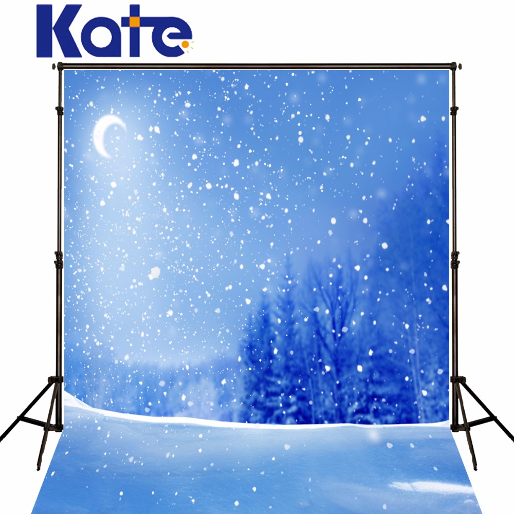 Kate Blue Winter Princess Photography Backdrops Snow Trees Photo Background Photography Moon Photo Background kidniu scenery photography backdrops trees lake photo props wallpaper winter snow vinyl background for studio 9x5ft win1403