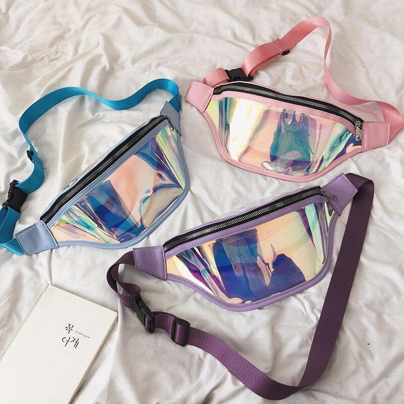 Chic Clear PVC Laser Hologram Reflective Fanny Pack Women Zipper Waist Bag Transparent Punk Holographic Belt