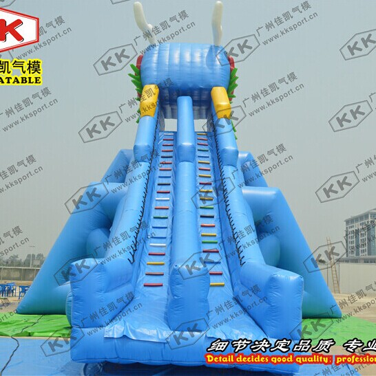 Giant Adults Hippo Commercial Inflatable Water Slides With Pool For Water Parks