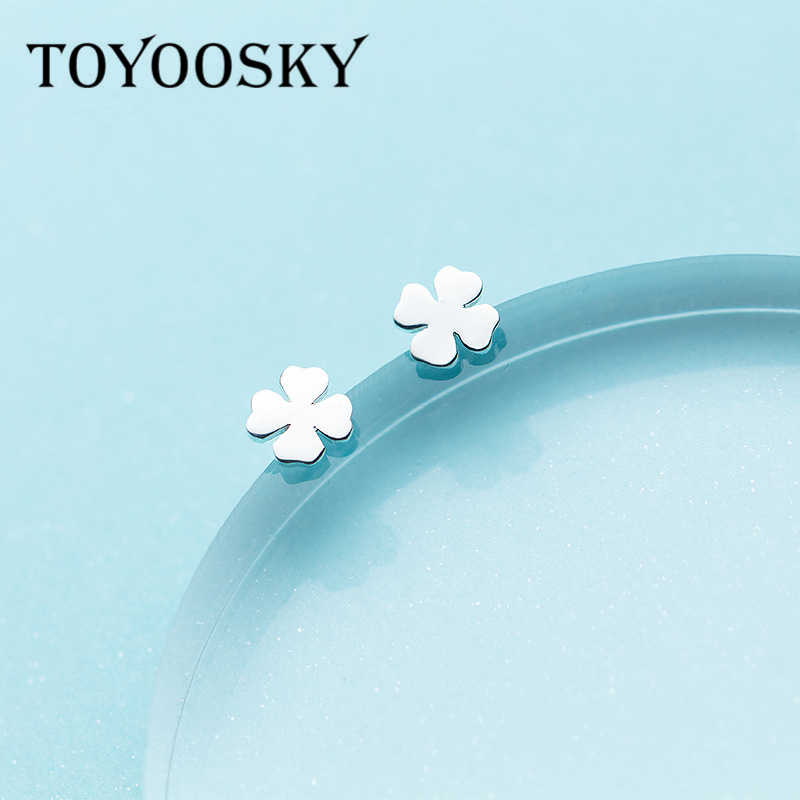 TOYOOSKY 925 Sterling Silver Four-leaf Grass Plant Shape Earrings for Women Cute Simple Sterling-silver-jewelry Brincos