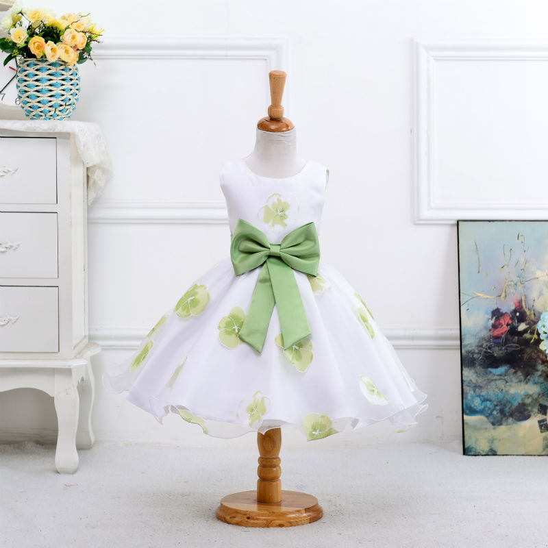 Girls Flower Printed Party Dress With Big Bow New Ball Gown Children Prom Dresses Baby Wedding Princess Dress for Party Clothing 2015 new girls dress princess dress children party wear veil big bow flower girl wedding dress white rose baby girls