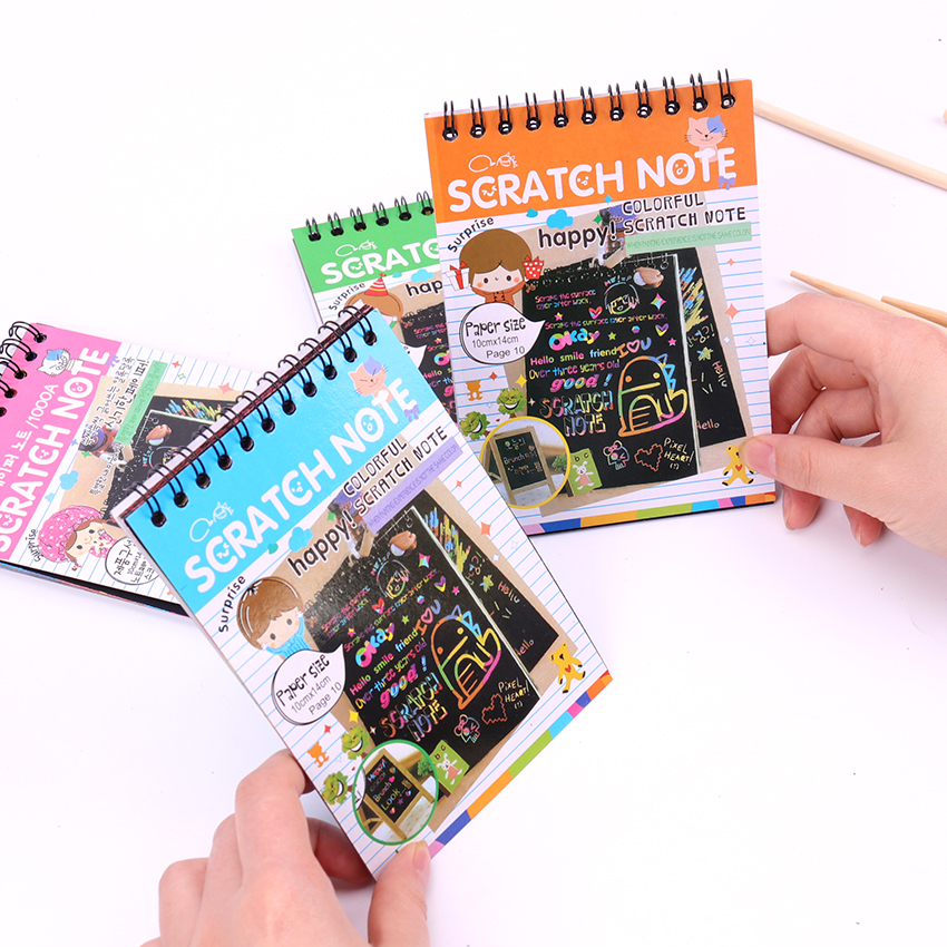 1 PC Scratch Note Black Cardboard Creative DIY Draw Sketch Notes for Kids Toy Notebook School Supplies