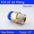 Envío gratis de alta calidad 30 piezas BSPT PC8-02... 8mm a 1/4 'neumática conectores hombre recto one-touch Accesorios