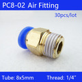 Free shipping HIGH QUALITY 30pcs BSPT PC8-02, 8mm to 1/4' Pneumatic Connectors male straight one-touch fittings