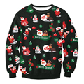2016 Chrismas Santa Claus Printed Women Pullover Fashion Round Neck Full Sleeves Women Hoodies Casual Women Sweatershirt