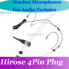 MICWL T70 Black Omni Directivity Comfortable ear Hook Headset Microphone for Audio-Technica Wireless Hirose 4Pin connector