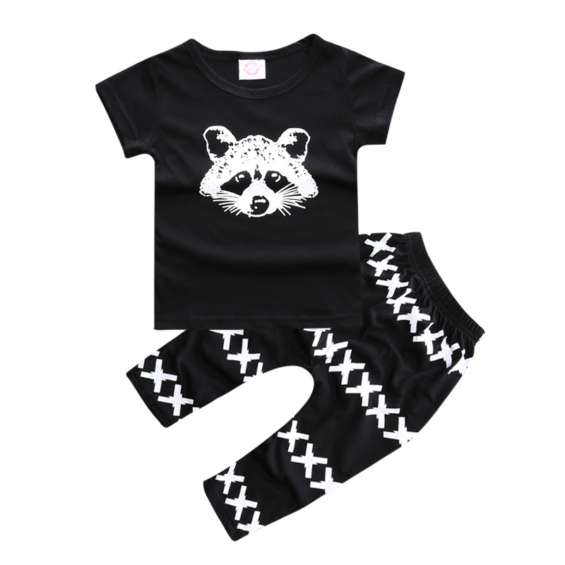Baby Boys Clothing Sets 2017 New Summer Style Boys Clothes Fox Printed Short Sleeve T-shirt+Pants 2Pcs Children Suit YY1670
