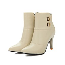 spring autumn new arrival elegant ankle boots stiletto high heels pointed toe buckle solid shoes woman